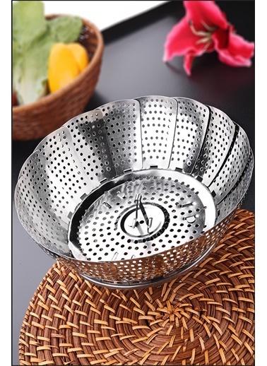 Kitchen Love Paslanmaz Çelik-Buharda Sebze  Haşlama Aparatı-Çap:24Cm/Yükseklik:5,5Cm Gümüş